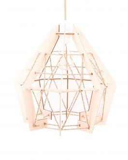 Lampa sufitowa drewniana wisząca ze sznurkiem jutowym