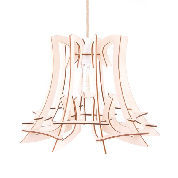 drewniana lampa do salonu