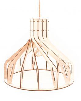 Lampa skandynawska wisząca retro ze sklejki w industrialnym stylu