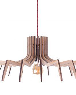 Modernistyczna lampa wisząca design ze sklejki industrialna