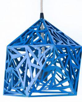 Niebieska lampa sufitowa ażurowa drewniana ze sklejki