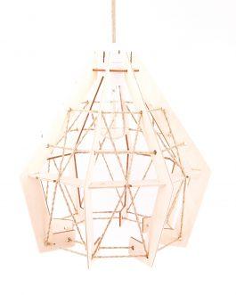 Lampa drewniana wisząca ze sznurkiem jutowym