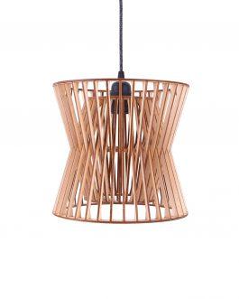 Drewniana lampa retro do salonu ze sklejki