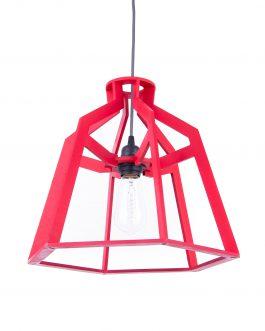 Estetyczna prosta nowoczesna lampa sufitowa w kolorze czerwonym