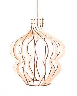 Wisząca lampa LED ze sklejki w stylu industrialnym