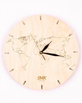 Zegar drewniany z grawerem – MAPA ŚWIATA