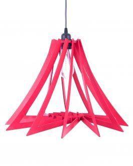 Lampa wisząca NAD STOŁEM ze sklejki w kolorze czerwonym SPIRALNA