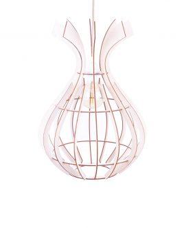 Modernistyczna lampa wisząca drewniana do salonu
