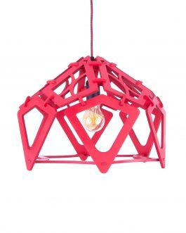 Designerska lampa wisząca czerwona ażurowa ze sklejki