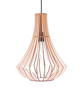 Oryginalna elegancka lampa sufitowa ze sklejki
