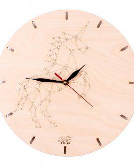 Nowoczesny zegar ze sklejki z DOWOLNYM logo – JEDNOROŻEC