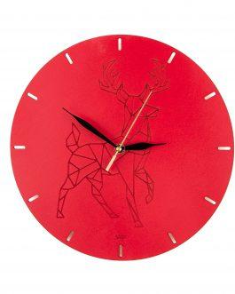 Czerwony zegar ścienny z geometrycznym motywem zwierząt – JELEŃ