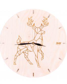 Nowoczesny zegar styl skandynawski ze zwierzętami ze sklejki- JELEŃ