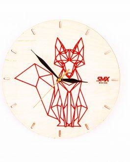 Symetryczny zegar na ścianę z motywem geometrycznych zwierząt – LIS