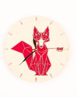 Kolorowy zegar geometryczny ze zwierzętami w industrialnym stylu