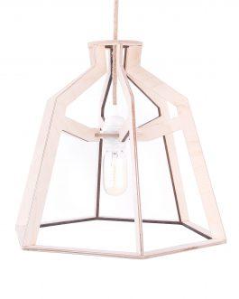 Minimalistyczna lampa industrialna drewniana do salonu