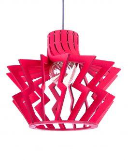 Czerwona modernistyczna drewniana lampa sufitowa LED