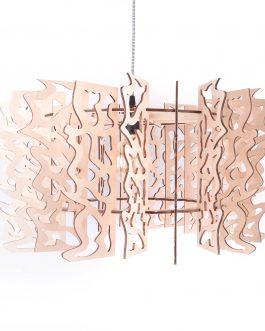Lampa ażurowa w industrialnym stylu ze sklejki