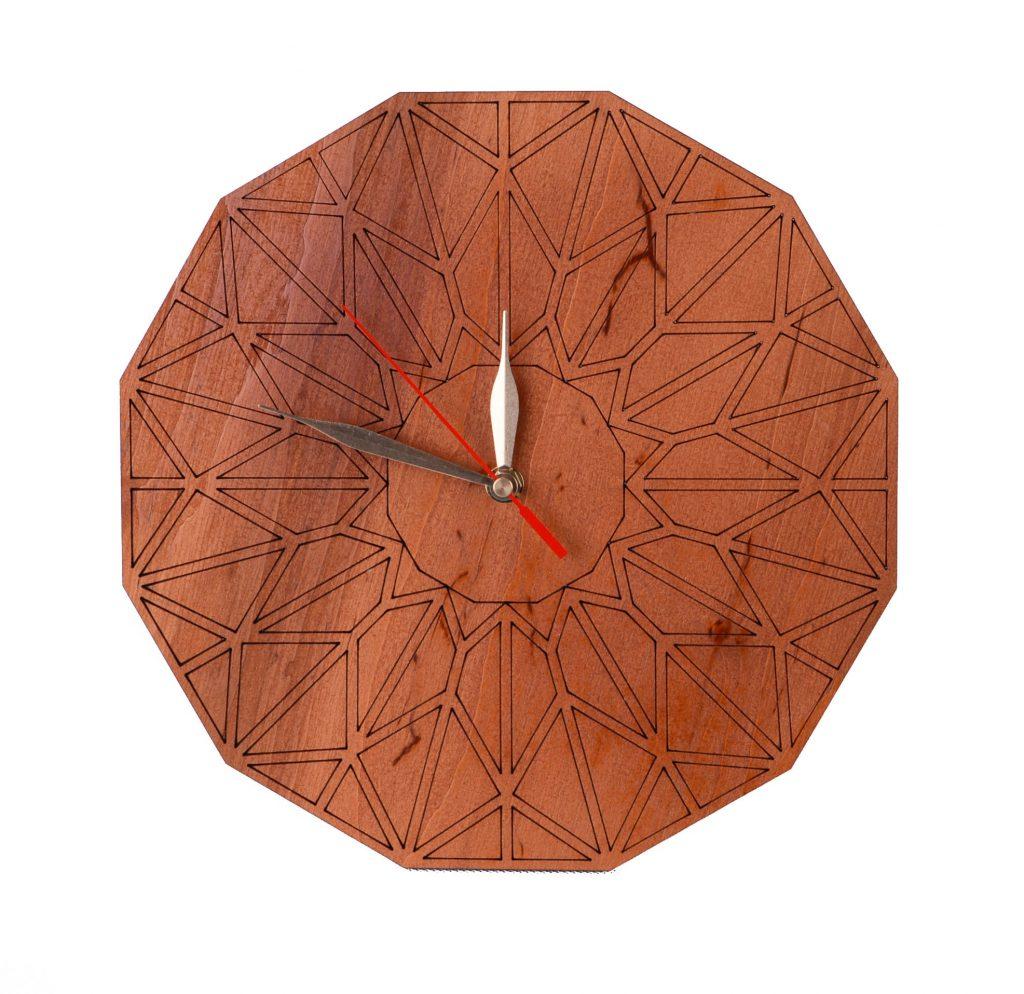zegar drewniany ze sklejki brązowy