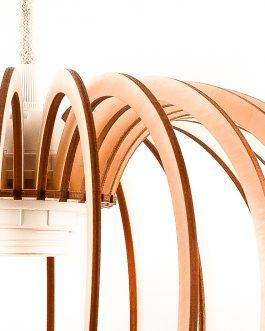 Nowoczesna lampa KULA sufitowa ze sklejki w stylu skandynawskim