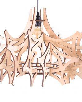 Lampa sufitowa do salonu ze sklejki w nowoczesnym stylu