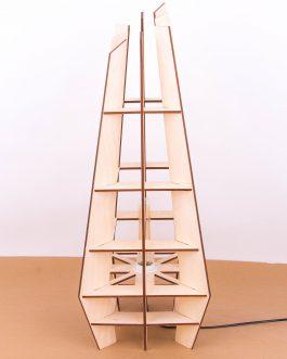 Stojąca lampa nowoczesna ze sklejki w stylu skandynawskim