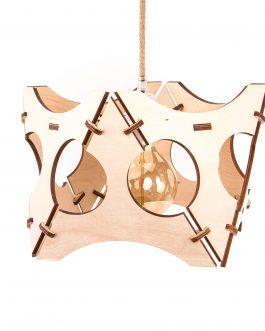 Drewniana lampa ażurowa ze sklejki w stylu nowoczesnym