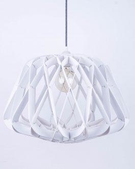 Skomplikowana sufitowa biała lampa do sypialni
