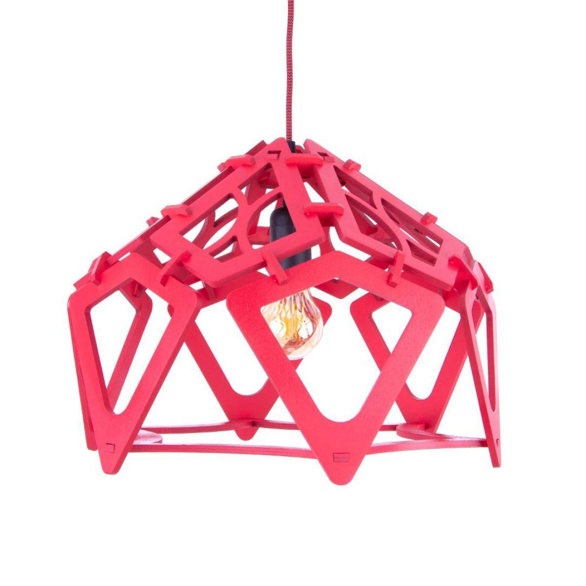 czerwona lampa nad stół