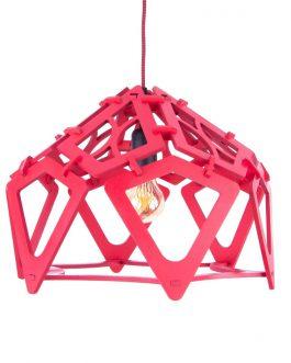 Designerska czerwona lampa wisząca ażurowa ze sklejki
