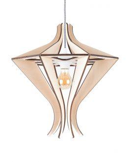 Designerska lampa nad stół wisząca ze sklejki w stylu skandynawskim
