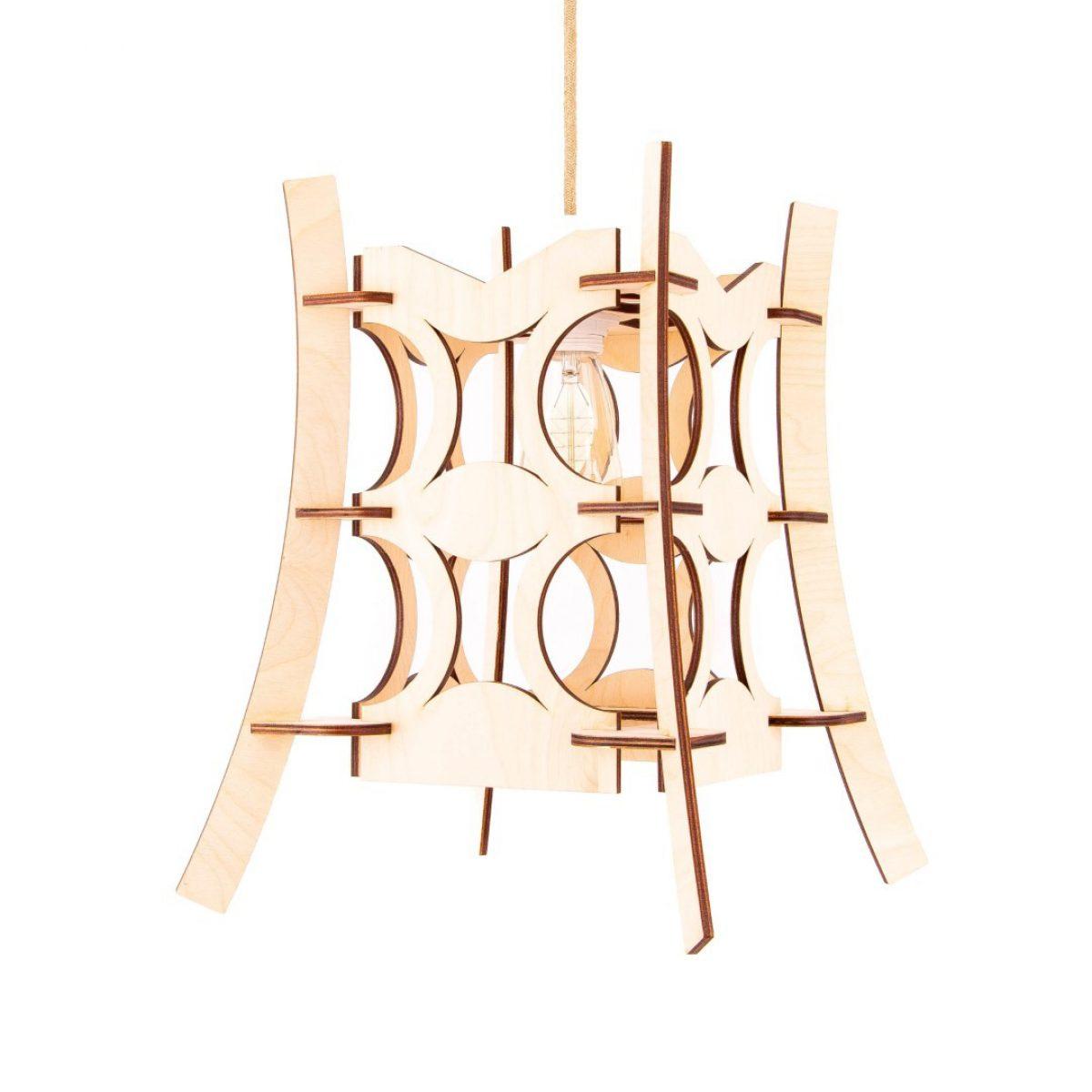 drewniana lampa LED