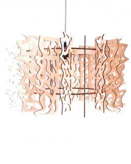 Lampa sufitowa drewniana w industrialnym stylu ze sklejki