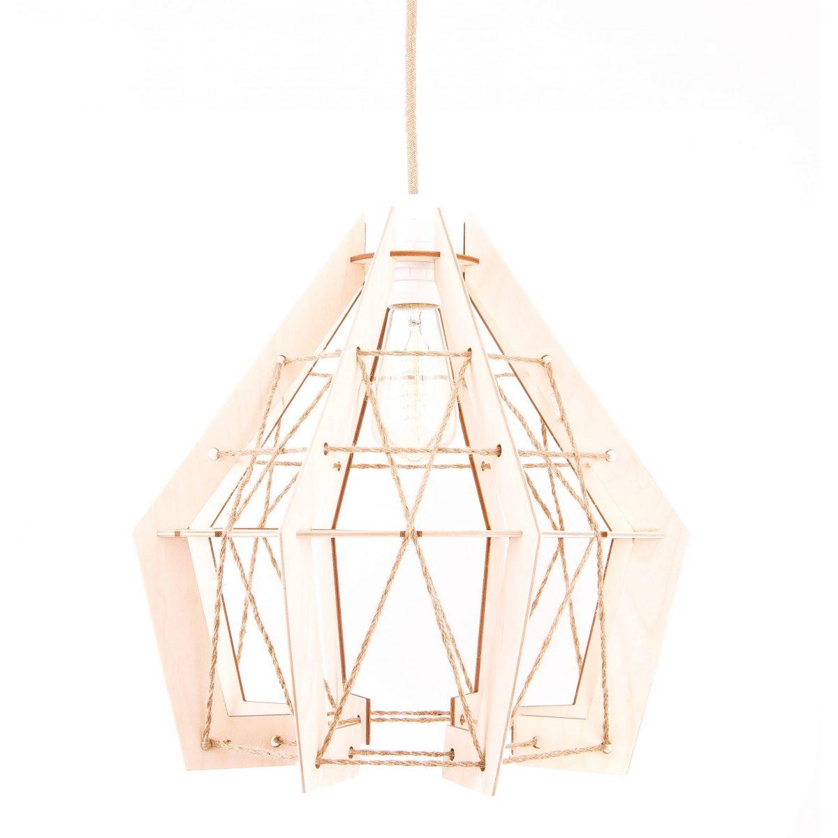 drewniana lampa wisząca