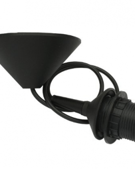 Oprawka żarówki CZARNA E27 z kablem + maskownica sufitowa