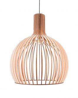 Nowoczesna drewniana lampa do salonu w kształcie kuli