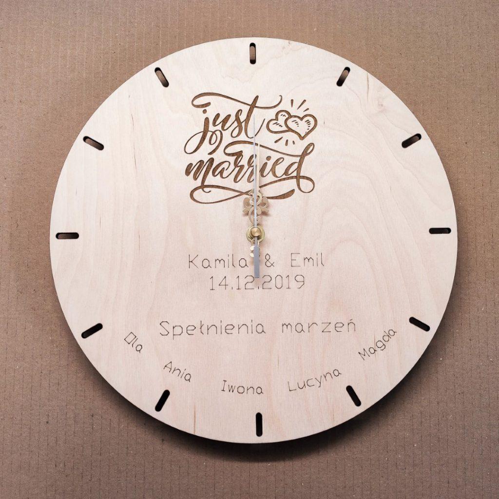 Zegar z grawerem na prezent ŚLUBNY