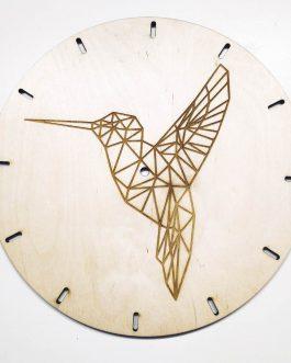 Zegar ścienny DREWNO z geometrycznym wzorem – KOLIBER
