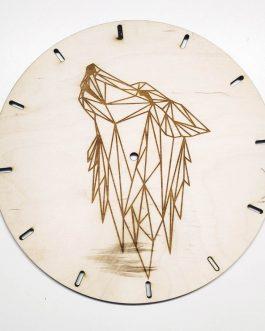 Drewniany zegar z grawerem – geometryczny wzór WILKA do SALONU