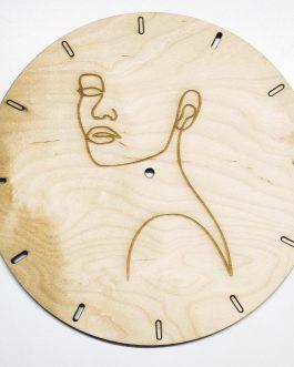 Zegar skandynawski drewniany na ścianę – grawer KOBIETY