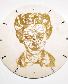 Zegar drewniany na ścianę – GEOMETRYCZNY wzór