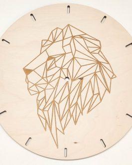 Zegar na ścianę do kuchni DREWNO z geometrycznym wzorem – LEW