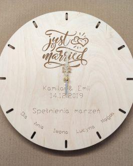 Zegar na ślub – JUST MARRIED – oryginalny prezent ślubny!