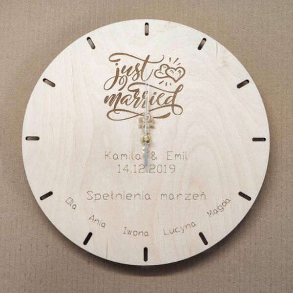 zegar na prezent ślubny