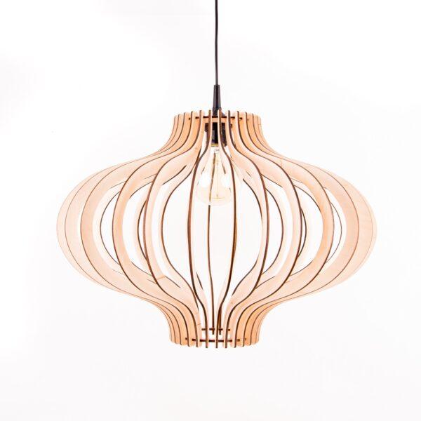 elegancka lampa z drewna
