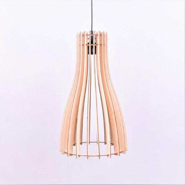 lampa designerska do salonu z drewna